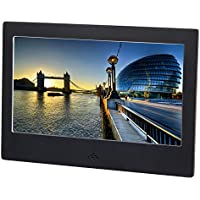 7 Digital Photo Frame Electronic Pitcure Frame Video/Audio Player LED Display Resolution 800x480 Support USB/SD/MS/MMC/3.5mm Audio Port Built-in Speaker Multi-language Metal Frame (Black)