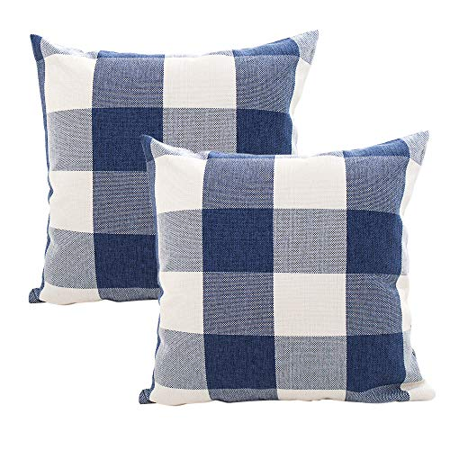 INSHERE Set of 2 Decorative Plaid Throw Pillow Covers Cotton Linen Checkers Pillowcase for Home Sofa Bedroom Car, Dark Blue/White Plaids Cushion Cover, 18 x 18 inch