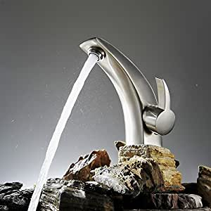 Greenspring Modern Curve Brass Bathroom Sink Faucet Brushed Nickel Centerset Mixers Tap Basin Vanity Faucets For lavatory