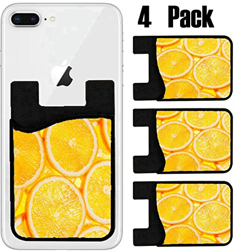 MSD Phone Card holder, sleeve/wallet for iPhone Samsung Android and all smartphones with removable microfiber screen cleaner Silicone card Caddy(4 Pack) IMAGE ID 35915491 Colorful orange fruit slices by MSD