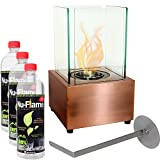 Sunnydaze Ventless Cubic Tabletop Ethanol Fireplace with Fuel, Copper Finish