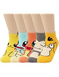 Cute Pokemon Cartoon Character Print Cotton Crew Floor Socks For Women Girl Boy 4pair