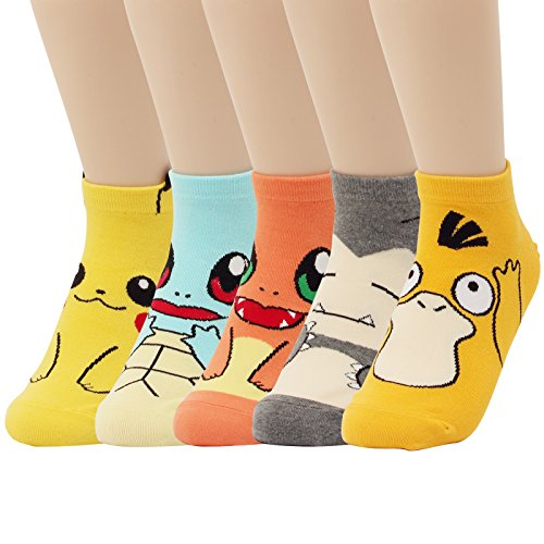 WOWFOOT Cute Pokemon Cartoon Character Print Cotton Crew Floor Socks For Women Girl Boy 4pair (5 pair - Pokemon Series 5)
