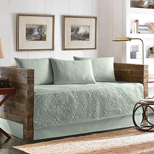 Aqua 5-Piece Daybed Set – Twin Blue Scroll Solid Color Nautical Coastal Shabby Chic Cotton Bedskirt Included