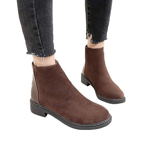 Vovotrade Botas de Moda para Mujer, Botines, Zapatos de tacón Grueso, Estudiantes británicos