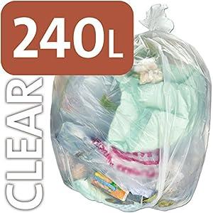 Alina, sacchetti per la spazzatura da 240 l in polietilene trasparente resistente, per bidone della spazzatura con ruote… 51G4W