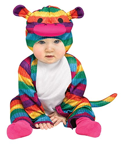 Rainbow Sock Monkey Colorful Halloween Costume,12-24 (Rainbow Sock Monkey Infant Costumes)