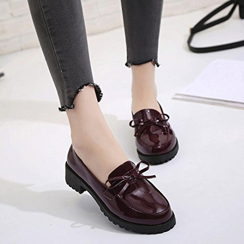 Byste Ankle Shoes, Women Comfy Flock Bowknot Slip-On Boat Waterproof Flat Spring Wear Ladies Office Work Safety Square Heel Young Girls Match Well With Your Pants/Skirts Wine