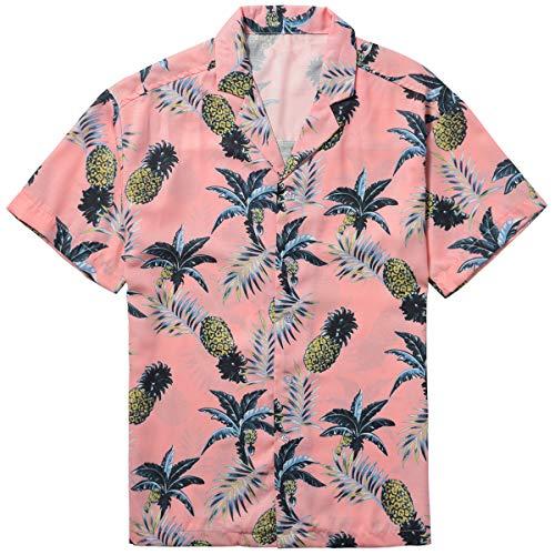 ZIOLOMA Men's Short Sleeve Tropical Pineapple Shirt Beach Hawaiian Shirt Pink