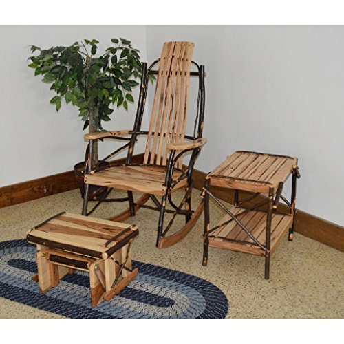 A & L Furniture Co. Amish Bentwood 7-Slat Hickory Rocking Chair with Gliding Ottoman and End Table Set - Ships Free in 5-7 Business ()