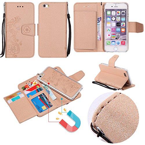 Hülle für iPhone 7 ,Schutzhülle Für IPhone 7 Abnehmbare 2 In 1 Premium PU + TPU Ledertasche ,cover für apple iPhone 7,case for iphone 7 ( Color : Gold )