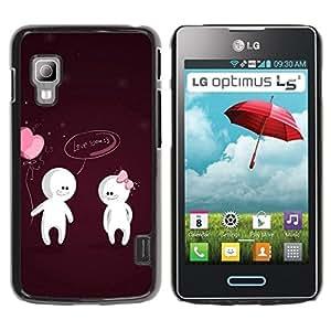 TopCaseStore / la caja del caucho duro de la cubierta de protección de la piel - Cute Love You Couple - LG Optimus L5 II Dual E455 E460