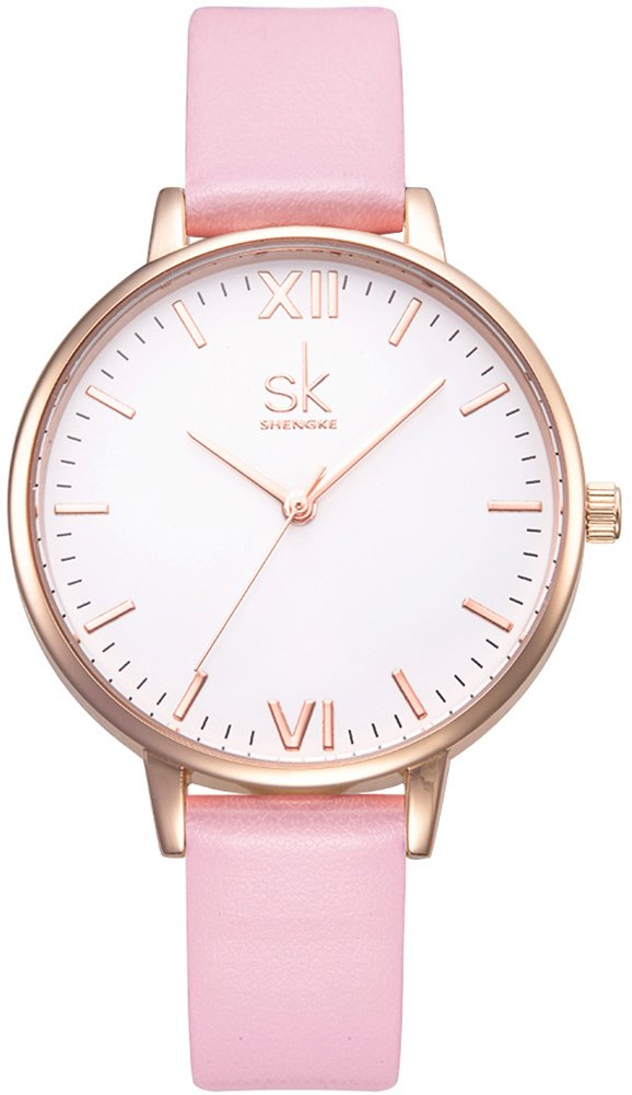 VOEONS Women's Elegant Pink Leather Quartz Analog Wrist Watches for Ladies with Waterproof White Face Gold Case