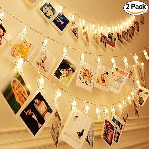 [Set of 2] Brilliant 20-LED Indoor Photo Clips String Lights, Light Up Photo Display String Fairy Lights Perfect for Hanging Pictures, Notes, Artwork, Memorabilia, Battery-Powered Warm ()