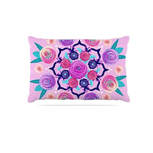 Kess InHouse Anneline Sophia Dahlia Mandala  Fleece Dog Bed, 50 by 60 , Pink Black