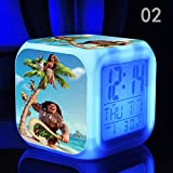 Enjoy Life : Cute Digital Multifunctional Alarm Clock With Glowing Led Lights and Moana sticker, Good Gift For Your Kids, Comes With Bonuses (02)