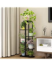 Multi Tier Iron Plant Stand - Indoor 6 Layer Tiered Wrought Iron Flower Pot Stand Metal Plant Display Rack Shelf Multi-Tiered Plant Holder for Living Room Corner Patio Balcony Court Garden
