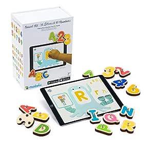 MARBOTIC - Smart KIT – inlärningspel för läsning och nummer – interaktiva träleksaker för surfplattor adapter iPad eller Samsung – 7 gratis inlärningsappar för barn från 3-6 år ingår