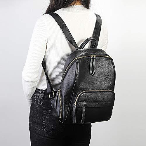 en cuir solide VHVCX Sac Black Sac féminine Femme Trave dos Sac dos portable femme en à Sacs Mode Casual cuir réel école véritable à xUUYZqprw