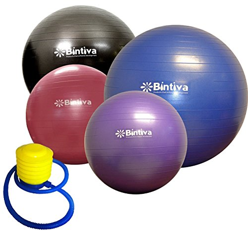 Bintiva Anti-burst Fitness Exercise Stability Yoga Ball, Including Free Foot Pump - 55cm Blue