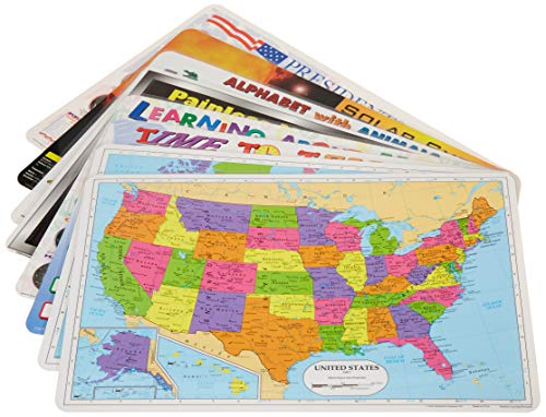 (Painless Learning Educational Placemats for Kids USA and World Map, Time and Money, Alphabet, US Presidents, Solar System, Multiplication, 8 Pack)