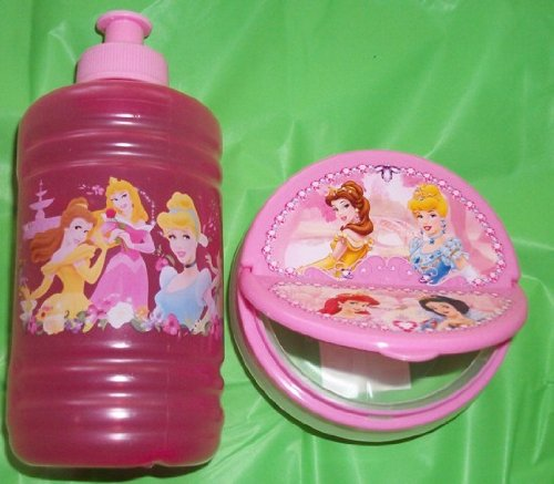 Disney Princess Pink 4 inch diameter Snack Bowl with Snap Open Top with 16 oz. Princess Sports Bottle