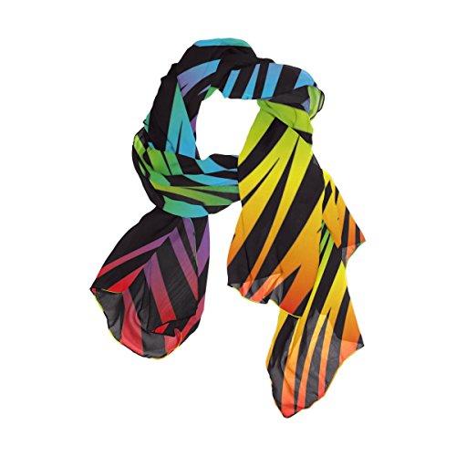 Use4 Rainbow Zebra Print Chiffon Silk Long Scarf Shawl Wrap