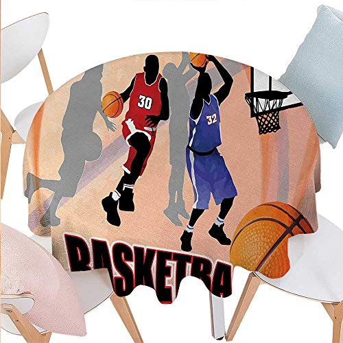 cobeDecor Basketball Printed Round Tablecloth Basketball Action Players on Abstract Background Classical Poster Style Print Flannel Round Tablecloth D36 Orange Black