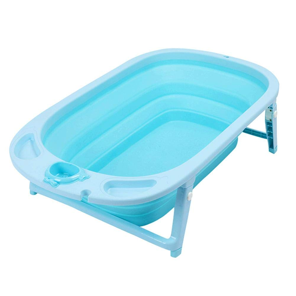 Infant Folding Bathtub Portable Collapsible Nonslip Space-Saving Self-Standing Baby Care Wash Basin Shower Tub Children Infant Shower Accessory(Blue) by Tnfeeon