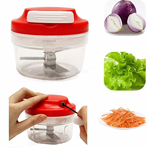 HUPLUE Food Chopper and Manual Food Processor - Vegetable Onion Slicer and Dicer - Meat Cutter Speedy Shredder, Easy Kitchen Cook Tool