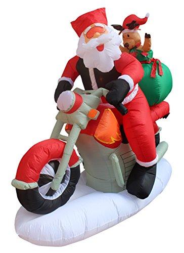 Foot long inflatable santa claus reindeer riding