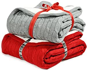 Cable Knit Sherpa Throw Cozy Reversible Lined Blanket, Gray or Red (Red)