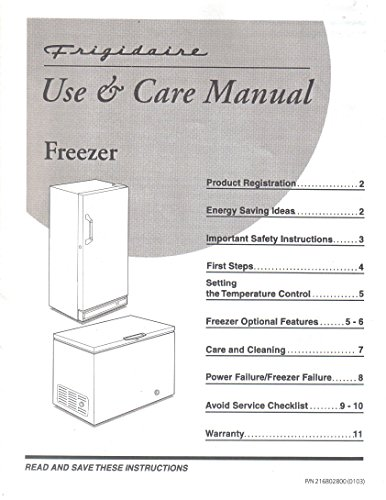 Frigidaire Upright Chest Freezer Use and Care Manual, Operator Owner's Guide - Frigidaire Chest Freezer Parts