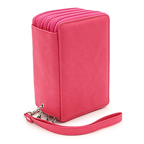 (BTSKY PU Leather Colored Pencil Case with Compartments-72 Slots Handy Pencil Bags Large for Watercolor Pencils, Gel Pens and Ordinary Pencils (Pink))