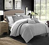 Chic Home 5 Piece Khaya Down Alternative Jacquard Striped Comforter Set, Twin, Silver