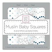 SwaddleDesigns Cotton Muslin Squares, Set of 3, Blue Starshine Shimmer