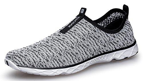 DLGJPA Women's Lightweight Quick Drying Aqua Water Shoes,Grey,8 B(M) US