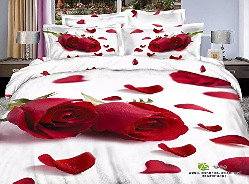 3D Oil Red Rose Wedding Bedding Sets,(1PC Duvet Cover,1PC Bed Sheet,2PC PillowCase ),100% Cotton King Queen Size Red Rose Girls Duvet Cover 4PC,King Size