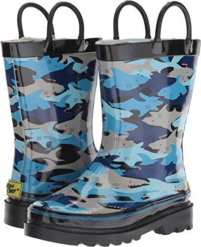 Western Chief Boys Kid's Waterproof Printed Rain Boot, Shark Chomp, 9/10 M US Toddler]()