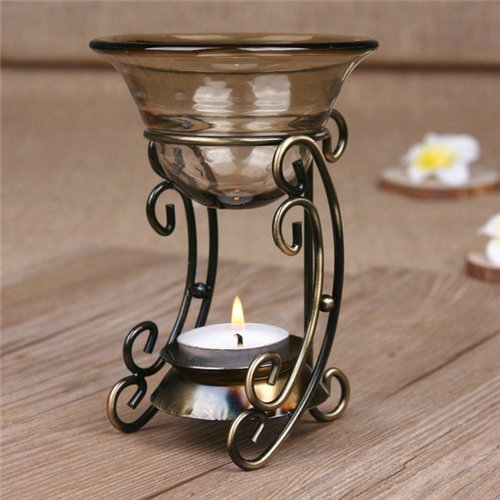 (AUCH Vintage Bronze Metal Tealight Candle Holder with Tawny Glass Fragrant Oil Warmer, Great Gift Item)