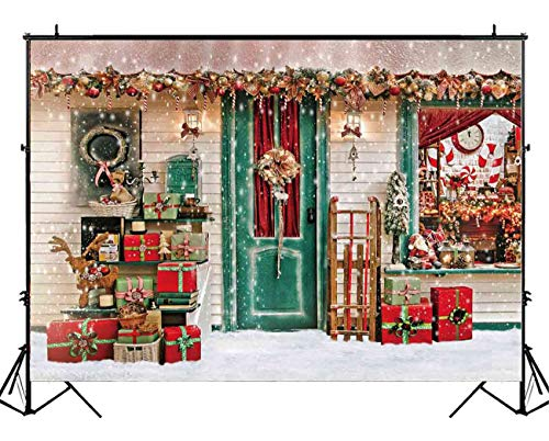 Funnytree 7X5ft Winter Christmas Photography Backdrop Xmas Snow Storefront Cottage Decorations Background Baby Portrait Photobooth Banner Photo Studio Props -