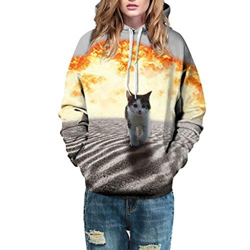 Jiayiqi Sudadera De Cuello Impresión Digital Mujeres Grandes Bolsillos Con Capucha Lazo Kitty