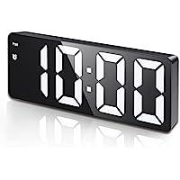 Digital Alarm Clock, LED Clock for Bedroom, Electronic Desktop Clock with Temperature Display, Adjustable Brightness…
