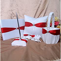 5-Piece Rhinestone Heart Guest Book Set with Pen Wedding Ring Pillow/Flower Girl Basket and 2 Garters