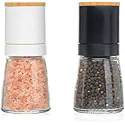 Salt and Pepper Grinder Set - Adjustable Grind Coarseness, Novelty Beech Wood Lid Design, Best Salt & Black Pepper Grinders Shakers, Great Kitchen Gift Idea (S&P Beech Wood)