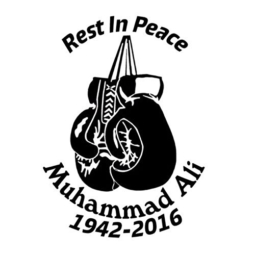 DECAL-STYLE- Car Window Decal Outdoor Sticker Muhammad Ali boxing Motorcycle Car Stickers And Decals (10.2CMx14CM) (Black)