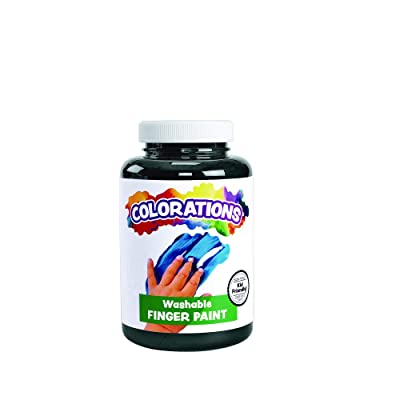 Colorations Washable Finger Paints, Black, Non-Toxic, Creamy, Vibrant, Kids Paint, Craft, Hobby, Fun, Art Supplies, Young Kids, Finger Painting, Hand Painting, 16 oz.: Industrial & Scientific