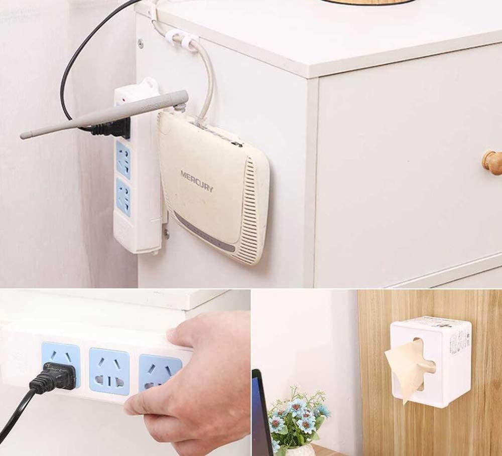 4 Pieces Seamless Punch-Free Plug Sticker Bracket Power Board Bracket Wall Mount self-Adhesive WiFi Router Surge Protector Power Socket Remote Control Bracket Desktop Organization Home and Office