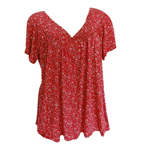 LILICHIC Vintage Chic Floral Print Blouse Fashion Women Summer V-Neck Shirt Short Sleeve Top Plus Size Loose Comfy Tunic Red