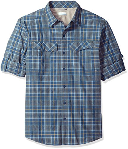 Shirt Dark Columbia Plaid Sleeve Plaid Ridge Long Silver Men's Mountain qqYf0